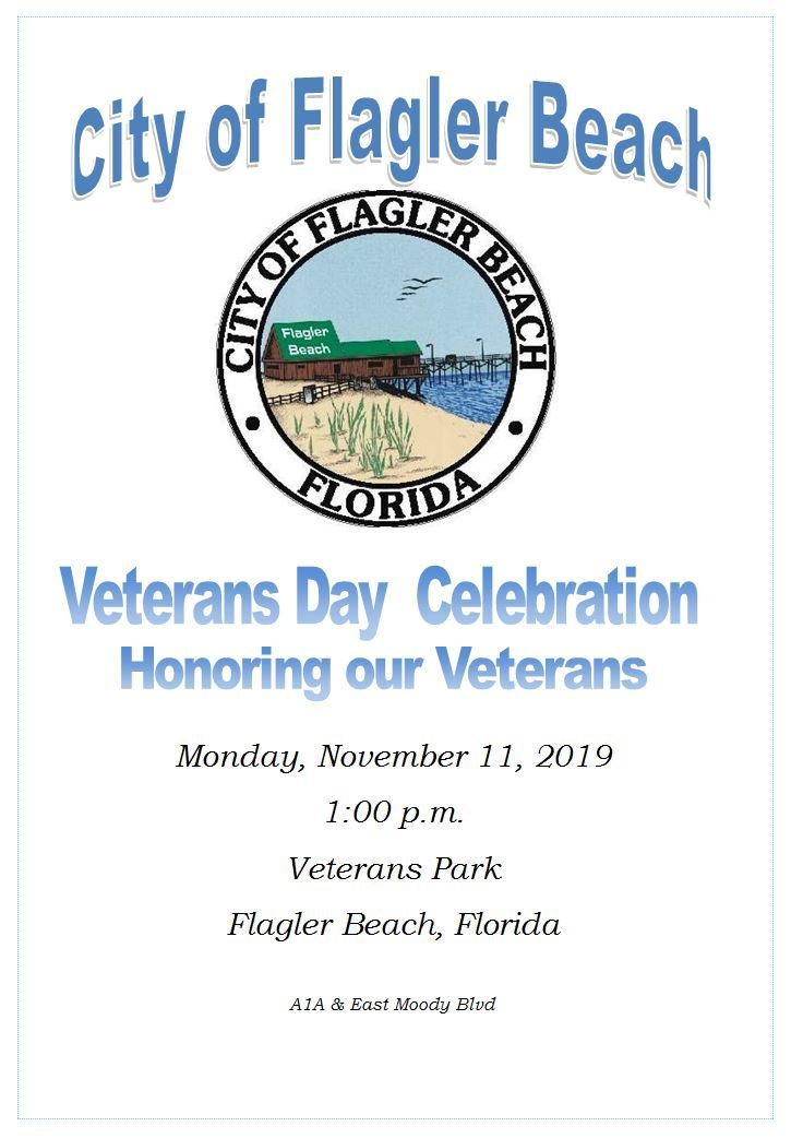 Veterans Day celebration November 11th at 1 p.m. Veterans Park