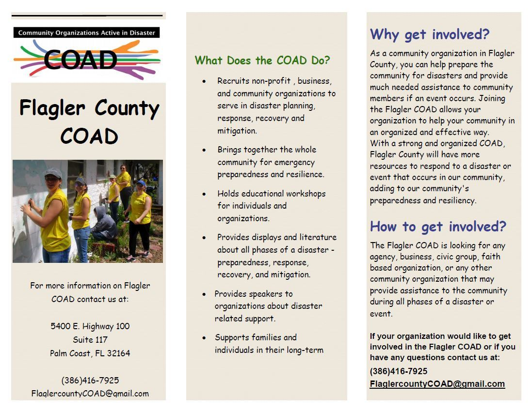 Community Organizations Active in Disaster pamphlet explaining what they do. For more information on
