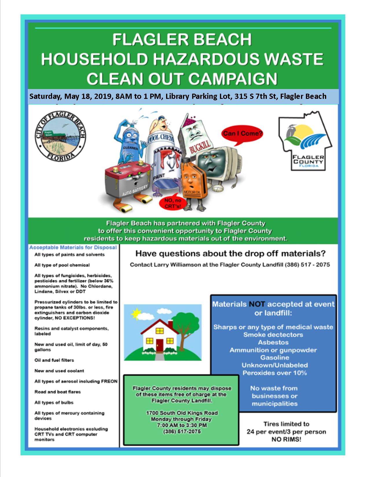 2019 Household Hazardous Waste Poster with same information typed into this post
